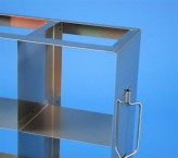 CellBox Mini  Schrankgestell 3x3 Fächer für 9 Kryoboxen bis 122x122x128 mm Klappgriff, offene Bauform