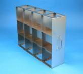 CellBox Mini  Schrankgestell 4x3 Fächer für 12 Kryoboxen bis 122x122x128 mm Klappgriff, offene Bauform